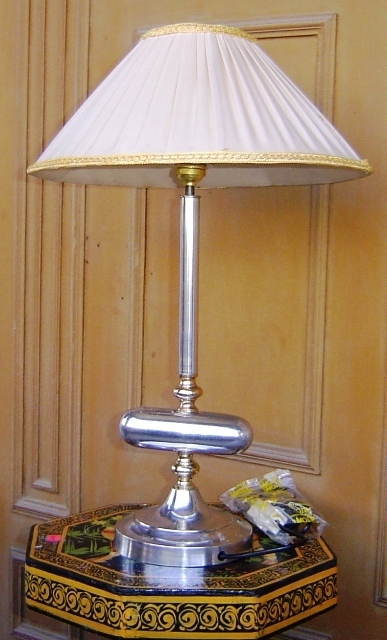 Rastogi handicrafts exclusive range of handicrafts from jaipur india na 125 brass aluminium lamp with cloth shade wire fitting greentooth Gallery