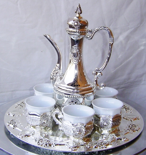 NA_266 SILVER PLATED TEA SET WITH 6 CUPS